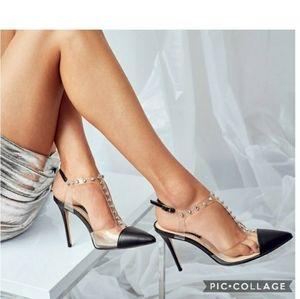 Nib! Nine west galena black rhinestone heels 6.5